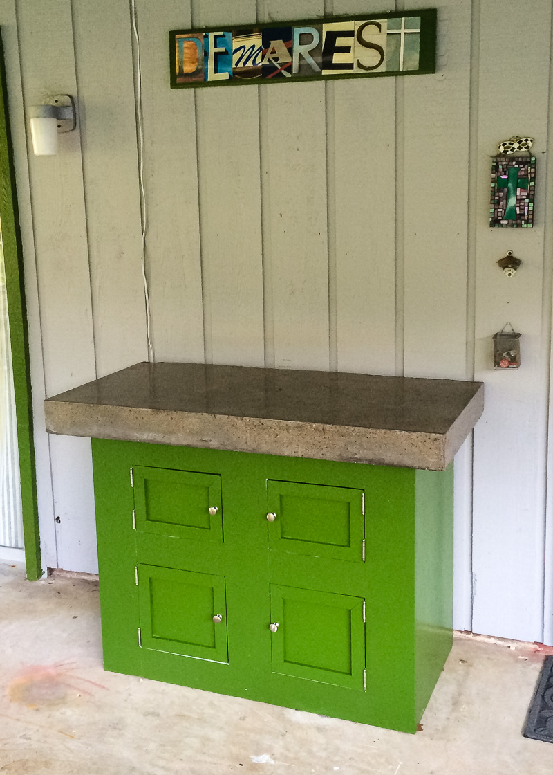 Dry Bar with Concrete Countertop